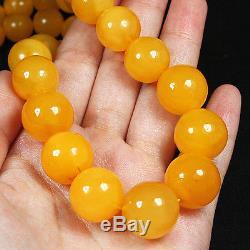 66.8g 100% Natural Antique Baltic Butterscotch Amber Bead Necklace CRLz10