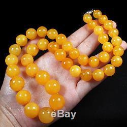 66.8g 100% Natural Antique Baltic Butterscotch Amber Bead Necklace CRLz10R