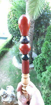 67 Gr. Antique Old Natural Antique Ottoman Turkish Amber Hookah Mouthpieces Pipe