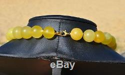 67+gr LARGE REAL OLD EGGYOLK NATURAL BALTIC AMBER VICTORIAN NECKLACE ROUND BEADS