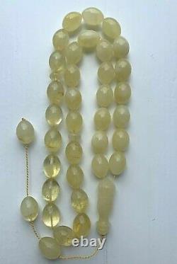 68gr. White Baltic Amber Premium Islamic Prayer Rosary Olive Beads Tesbih Misbah