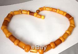 73 grams Old Antique Natural Baltic Amber Butterscotch Egg Yolk Bead Necklace
