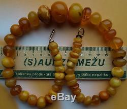 74.33 gm Vintage Butterscotch Egg Yolk Color Natural Baltic Amber Beads Necklace