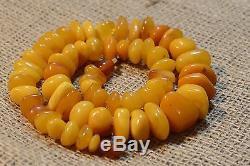 77.9 g VINTAGE Natural Butterscotch Egg Yolk Baltic Amber Necklace