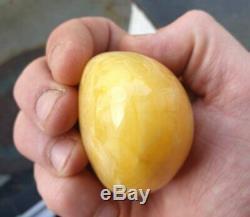 77gr Natural Baltic Amber Ball Huge Egg Yolk Sphere 65mm Rare Bead Butterscotch