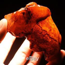 84.02g 100% Natural Polished Baltic Butterscotch Amber Antique Egg Yolk YRL2R