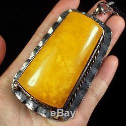 89.4g 100% Natural 925 Silver Baltic Butterscotch Amber Antique Pendant CRP2