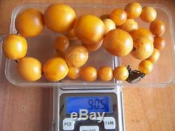 90.5 grams Old Antique Natural Baltic Amber Butterscotch Egg Yolk Bead Necklace