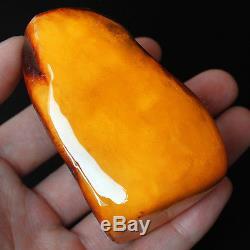 90.65g 100% Natural Polished Baltic Butterscotch Amber Antique Egg Yolk YRL1R