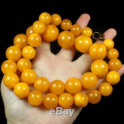 92.46g 100%Natural Antique Baltic Butterscotch Amber Round Bead Necklace CRLZ1