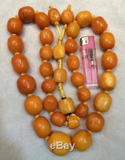 92.55 grams Antique Natural Baltic Amber Butterscotch Egg Yolk Bead Necklace