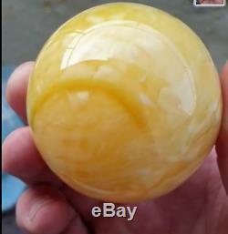 94gr Natural Baltic Amber Ball Huge Egg Yolk Sphere 65mm Rare Bead Butterscotch