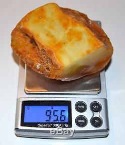 95.6 Gram Natural Baltic Antique Raw Amber Royal White Egg Yolk BEESWAX Rare