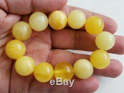 AMBER BRACELET BEADS 30.9gr BALTIC NATURAL Butterscotch Stone Genuine Round RO65