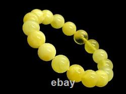 AMBER BRACELET Natural BALTIC AMBER Round Beads Yellow Milky Elastic 20g 11625
