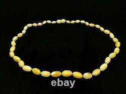 AMBER NECKLACE GIFT Natural BALTIC Amber Yellow Milky Beads Knotted 13,3g 15437