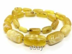 AMBER NECKLACE Natural Baltic Amber White Yellow Barrel Beads Ladies 49g 11138