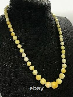 AMBER NECKLACE WHITE Yellow Baltic Amber Round Beads Gift Knotted 14,8g 15428