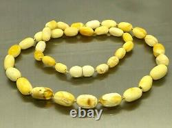 AMBER NECKLACE White Yellow Royal BALTIC Amber Beads Gift Knotted 11,1g 15435