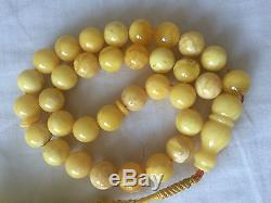ANTIQUE AMBER PRAYER BEAD, NECKLACE, EGG YOLK, 100% NATURAL BALTIC AMBER, 51g