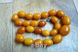 Antique Butterscotch Egg Yolk Natural Baltic Amber Beads Necklace Weight 52 Gram