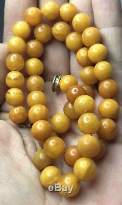 ANTIQUE NATURAL BALTIC AMBER BUTTERSCOTCH EGG YOLK ROUND BEADS 16 Grams Tested
