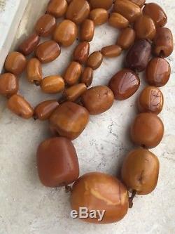 ANTIQUE NATURAL BALTIC AMBER Butterscotch Prayer Beads EGG YOLK ROSARY 181gr