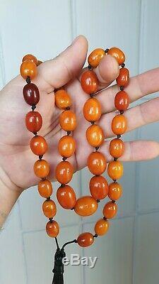 ANTIQUE NATURAL BALTIC AMBER Butterscotch egg yolk Beads ROSARY Tibetan hinese