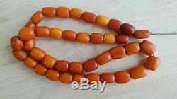 ANTIQUE NATURAL BALTIC AMBER beads egg yolk Beads ROSARY Tibetan hinese