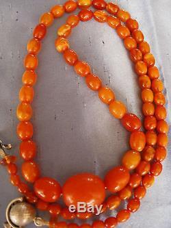 Antique Natural Butterscotch Baltic Amber Bead Necklace 28.6 Grams