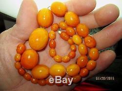 Antique Natural Butterscotch Egg Yolk Baltic Amber Bead Necklace 41g