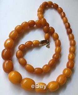 Antique Natural Butterscotch Egg Yolk Baltic Amber Beads Necklace Vintage