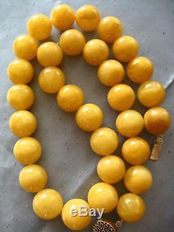 Antique Natural Egg Yolk Butterscotch Baltic Amber Huge Beads Necklace 175.4 Gr