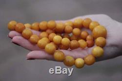 ANTIQUE Natural Butterscotch Egg Yolk Baltic Amber Necklace Beads 64 gr