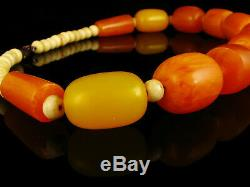 ANTIQUE RARE GENUINE NATURAL BALTIC BUTTERSCOTCH AMBER BARREL BEAD 119g NECKLACE