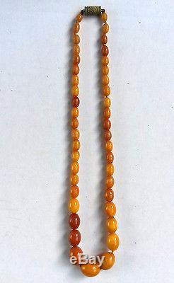 ANTIQUE REAL NATURAL BALTIC BUTTERSCOTCH EGG YOLK AMBER NECKLACE BEADS 14 grams