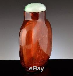 AUTHENTIC CHINESE CARVED NATURAL BALTIC CHERRY AMBER JADEITE LID SNUFF BOTTLE