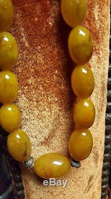 AUTHENTIC VINTAGE NATURAL BUTTERSCOTCH EGG YOLK BALTIC AMBER 25 bead necklace