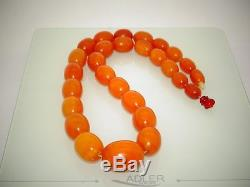 Amber Antique Vintage Natural Baltic Egg Yolk Butterscotch Amber Necklace 35 Gr