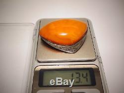 Amber Antique Vintage Natural Baltic Egg Yolk Butterscotch Amber Silver Brooch