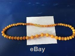 Amber Beads Necklace Antique Natural Butterscotch Egg Yolk Baltic