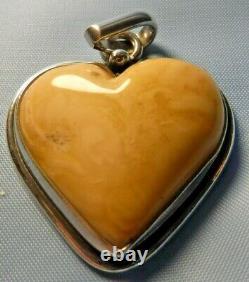 Amber Heart Baltic Amber Pendant Butterscotch Egg Yolk Antique Silver Russian