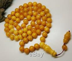 Amber Islamic Prayer Tasbih Bead Natural Baltic Genuine 35,4g Vintage Old Nr178