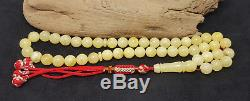 Amber Islamic Prayer Tasbih Beads 45psc Natural Baltic Genuine 30g Egg Yolk Z-07