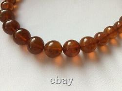 Amber Necklace. 77 grams Vintage Baltic Natural Honey Cognac Amber Round Beads