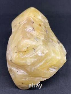 Amber Raw Stone 100% Natural Baltic Rock Bernstein Prayer White half polish 608g