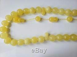 Amber Rosary Baltic 33 Prayer Beads 15.4 mm 100% Natural Islamic Tesbih 108.4gr
