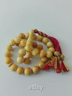 Amber Rosary Prayer Natural Beads Baltic Islamic Tesbih Misbaha 33 Muslim Misbah
