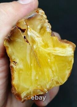 Amber Yellow White raw Baltic stones natural Pendant 113 gr Royal Landscape Matt