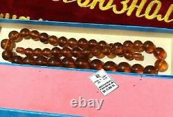 Amber beads balls natural amber cognac new necklace VINTAGE USSR BALTIC 68 gr